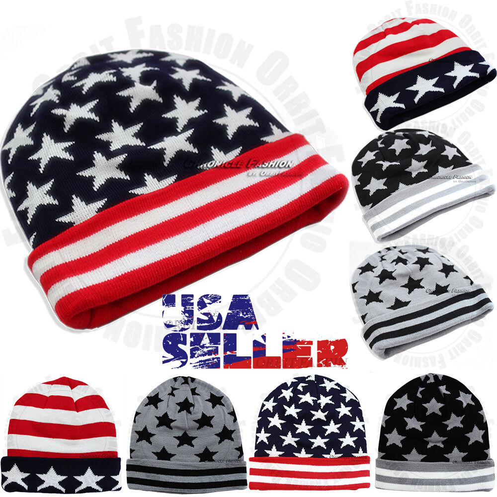 Beanie Cap Knit Hat Winter Warm USA American Flag Skull Hat Cuff ... 160061cefcb