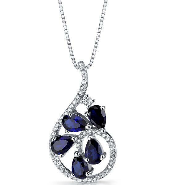 6Ct Pear Cut bluee Sapphire Stylish Diamond Womens Pendant 14K White gold Finish