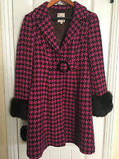 NANETTE LEPORE Brown and Pink Houndstooth Coat Size 4 with Fur Cuffs