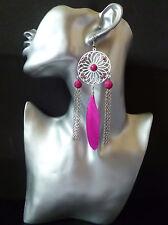 Pretty Silver tone,  hot pink / fucshia feather & long chain tassel earrings