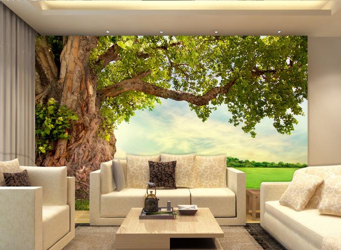3D Big Tree Trunk Sunlight Paper Wall Print Wall Decal Wall Deco Indoor Murals