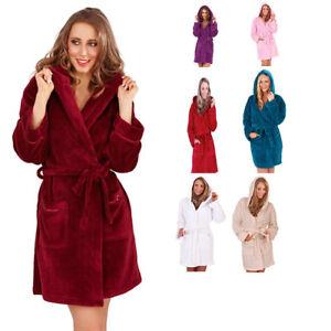 473de2ed0e Image is loading Womens-Soft-Hooded-Short-Bathrobe-Dressing-Gown-Housecoat-