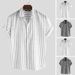 Summer-Men-Linen-Short-Sleeve-Shirt-Cool-Loose-Casual-Shirts-V-Neck-Tops-Holiday