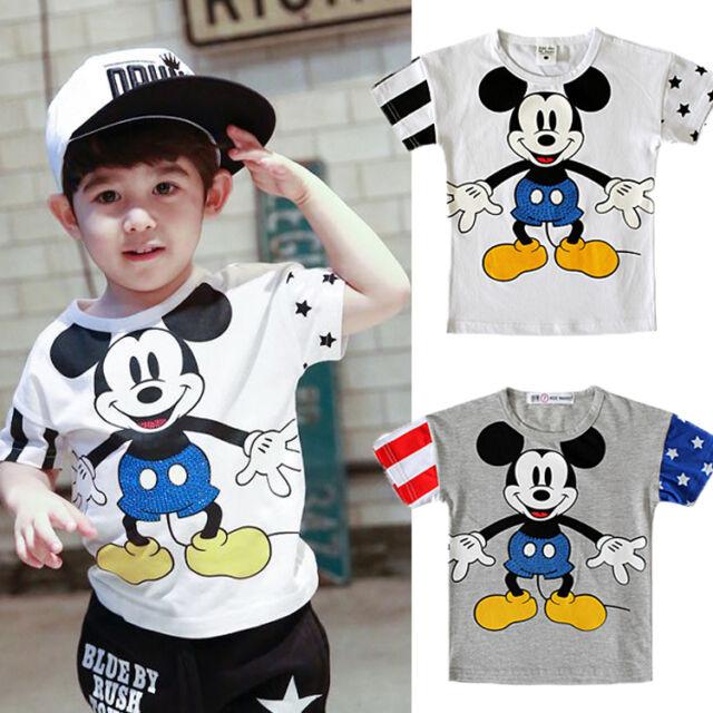 Cute Cartoon Mickey Mouse Kids Boys Girls Casual Short Sleeve Tops T-Shirt 2-7Y