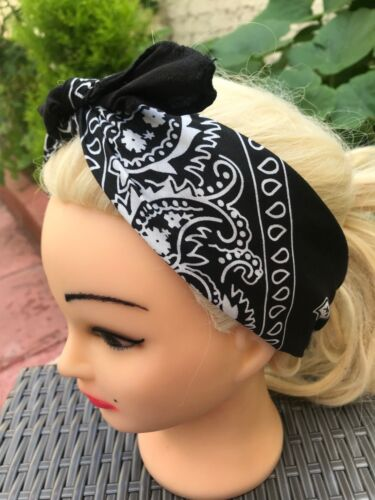 Black Cotton Paisley Bandana Hair Neck Scarf Headband Urban 50s Pin Up Urban