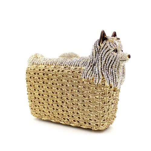 New handmade lovely dog Luxury Rhinestone Wedding Bridal Party Evening Bag