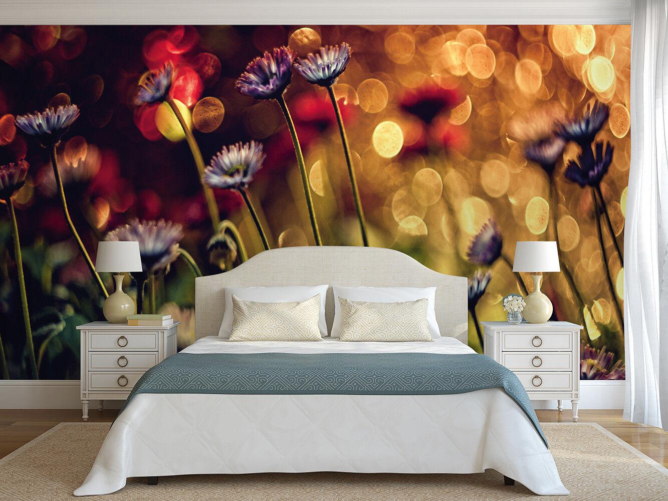 Schlafzimmer Wandbild Fototapete Blaumen und Lichter Feature Wand Dekoration