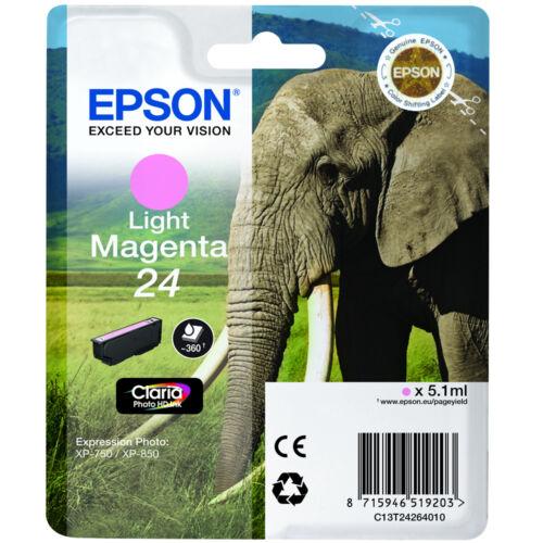 GENUINE EPSON ELEPHANT SERIES LIGHT MAGENTA INK CARTRIDGE EPSON 24 C13T24264010