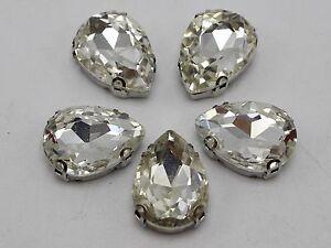 20 Silver Crystal Glass Teardrop Rose Montees 10x14mm Sew On Rhinestones Beads Beads