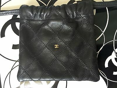 """Authentic CHANEL Vintage Quilted Drawstring Pouch Black Leather Gold """"CC"""" Logo"""