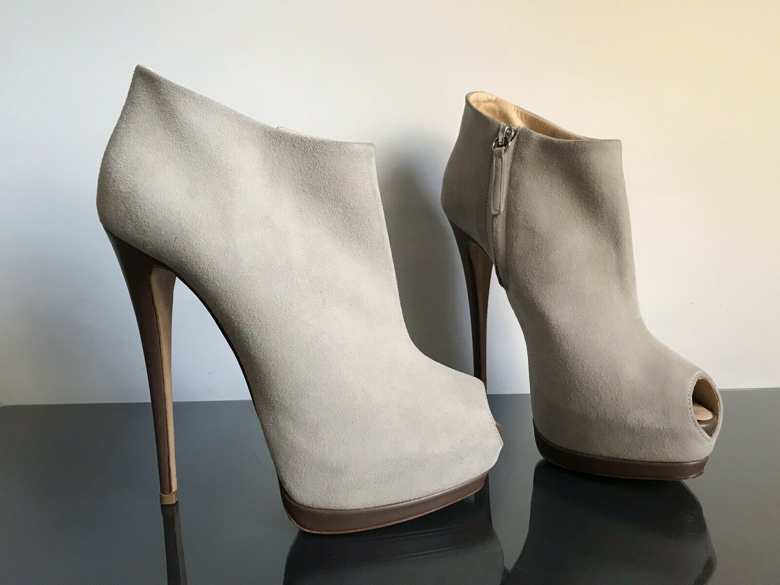 W.neu Giuseppe Zanotti  39 High Heels Peep Toe Suede Stiefel Plateau Stiletto
