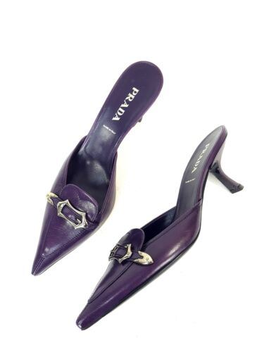 Prada Purple Leather Pointed Toe Kitten Heeled Mul