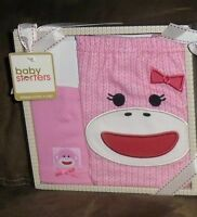 Baby Starters Pink Sock Monkey Diaper Cover & Cap Baby Gift Set Girl 0-6 Months