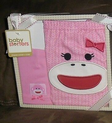 Aggressive Baby Starters Pink Sock Monkey Diaper Cover & Cap Baby Gift Set Girl 0-6 Months
