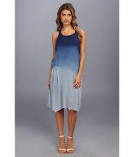 DKNY JEANS Indigo Blue Ombré Wash Illusion Sheer Boho Midi Racerback Dress Sz XS