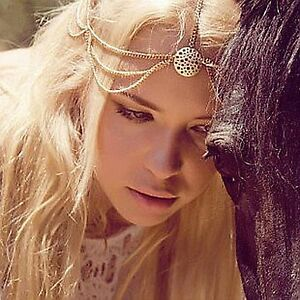 Women Forehead Metallic Bohemian Retro boho Chain Dance Party Head hair headband