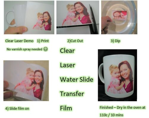 Clair Imprimante Laser Water Slide Decal Paper x 5 A4
