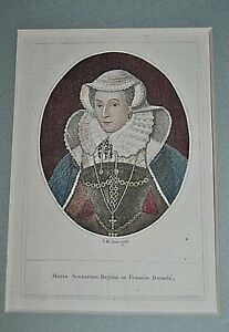Queen Of Scotland Genuine Antique Engraving Mary Antique Etching By John Kay