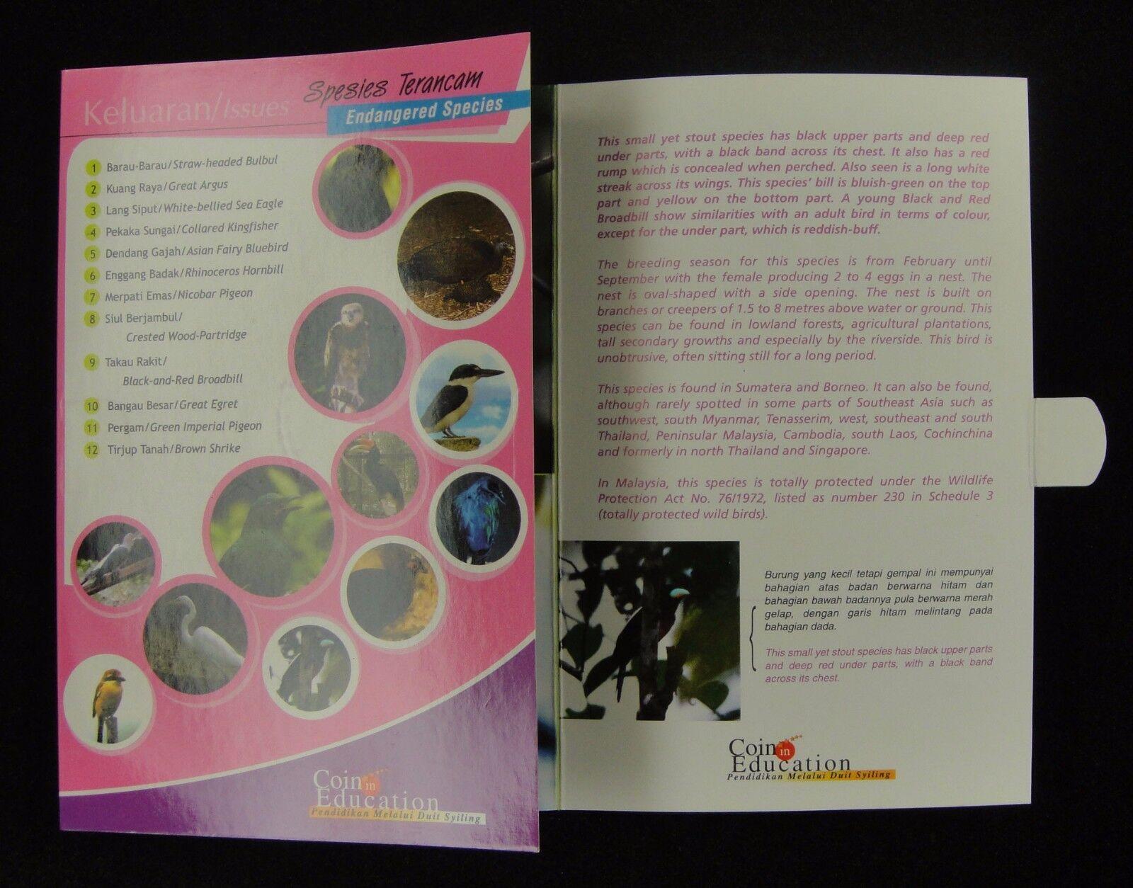 Card Coins Malaysia 25 Sen 12 Bird Endangered 2005 Brown Shrike booklet