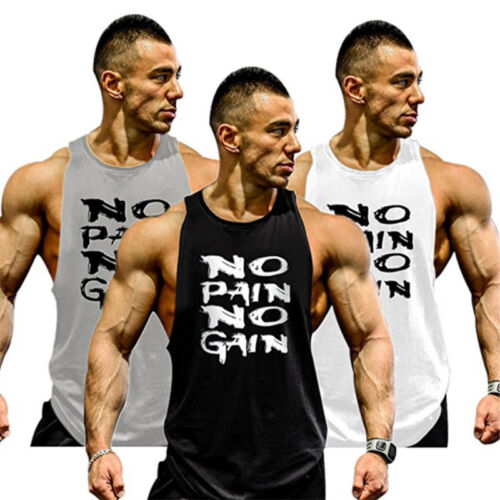 Men Workout Muscle Vest Tank Top Bodybuilding Gym Fitness Football Dance T Shirt