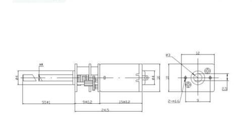 DC12V 60~1000RPM M4*55 N20 Micro Metal Gear Motor Long thread shaft Gearmotors