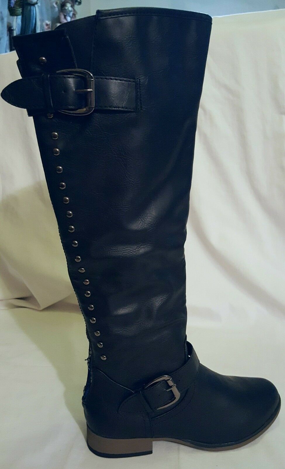 NEW FOREVER BLACK FX LEATHER EXPOSED blueE ZIP STUDDED BUCKLE KNEE BOOTS 6.5M