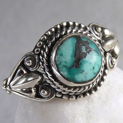 Filigree Feature Size US 6.25 SilverSari Gem Ring 925 Sterling Silver TURQUOISE