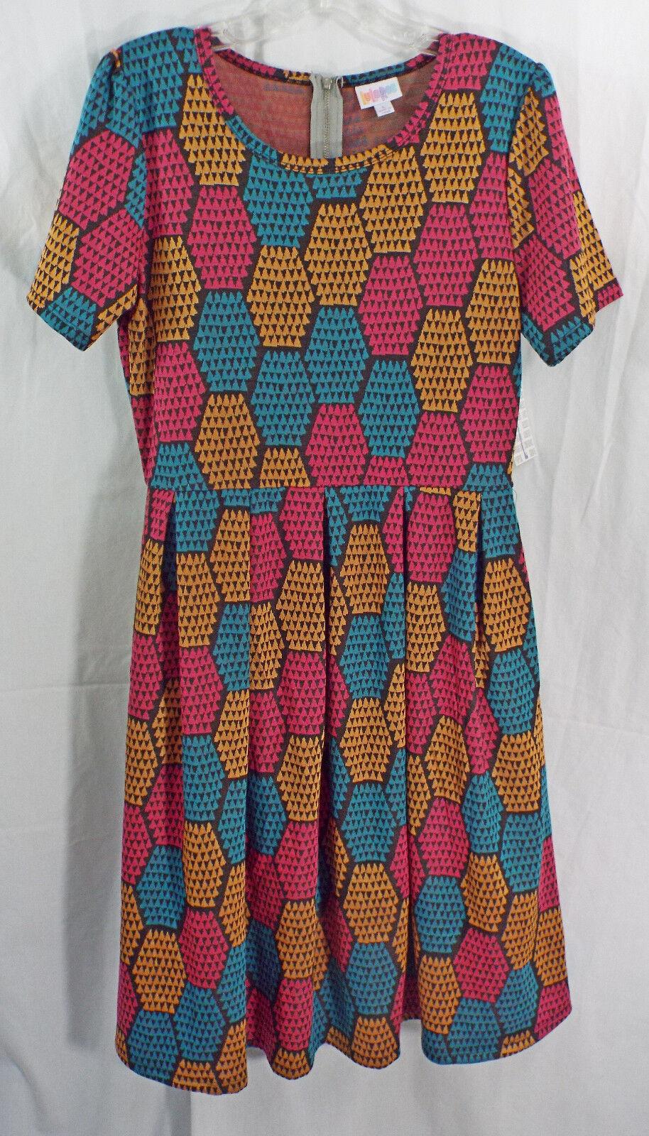 damen LuLaRoe Dress LARGE Amelia Multi ColGoldt Texturot Pattern NWT