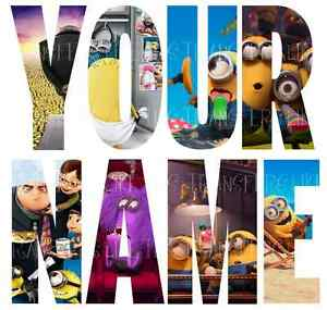 MINIONS-DESPICABLE-ME-NAME-LETTER-STICKERS-WALL-DECO-DECAL-3-SIZES-lot-MD