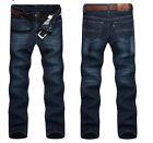 Men Classic Straight Slim Fit Fleece Lined Thick Jeans Biker Denim Trousers Pant