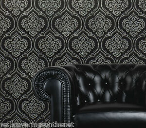 Image Is Loading Black With Silver Glitter Damask Wallpaper