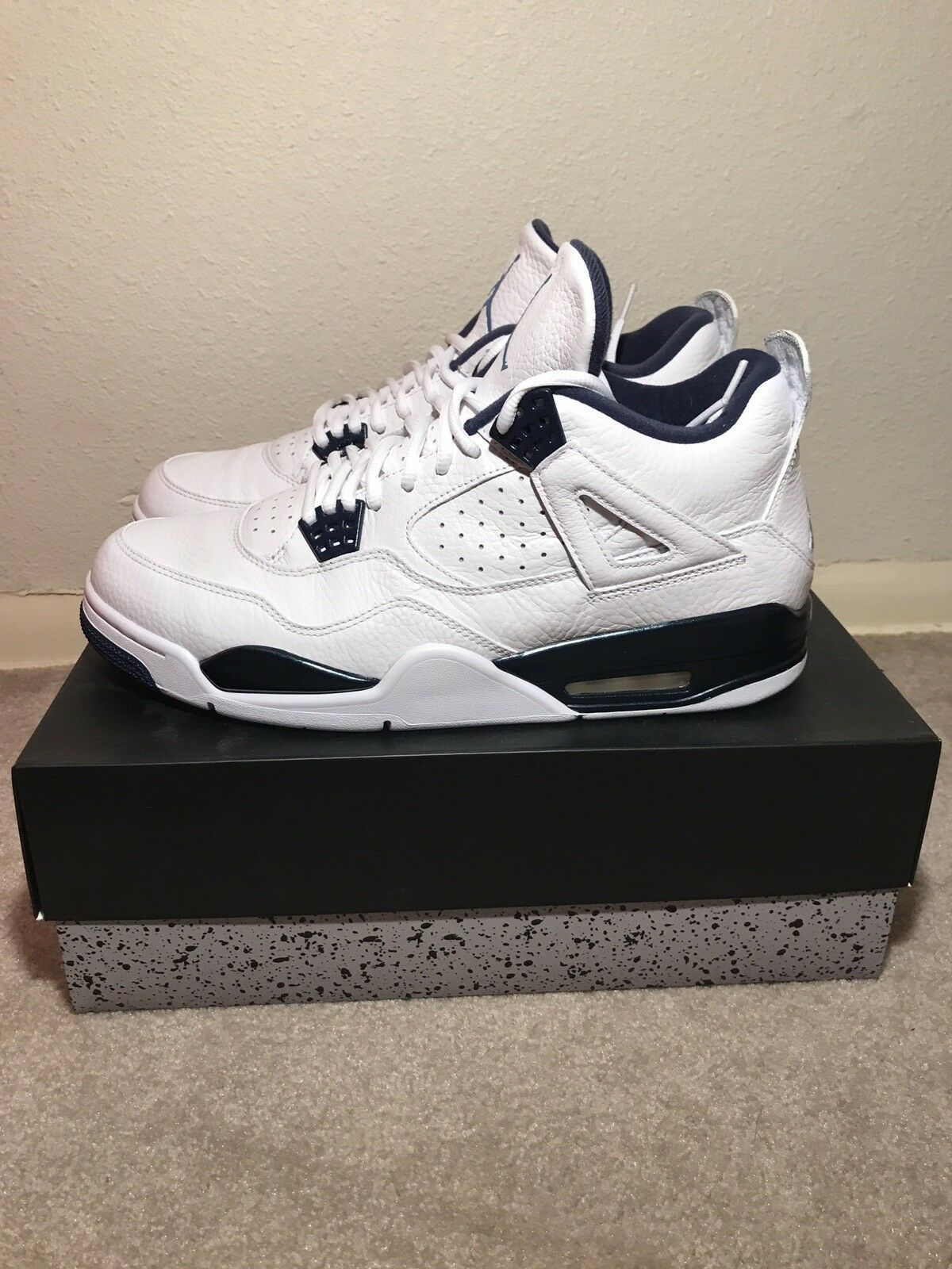 Air Jordan 4 Retro LS Legend Blue Navy Remastered White Columbia Men's size 12