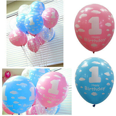 1st First Birthday Party Decor Baby Girl Boy Printed Number 1 Ballons 20pcs New
