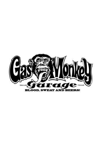 GAS MONKEY GARAGE adesivi in nero 800mm x 350mm