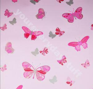 Butterfly-Wallpaper-Pink-Metallic-Silver-Girls-Bedroom-Washable-Debona