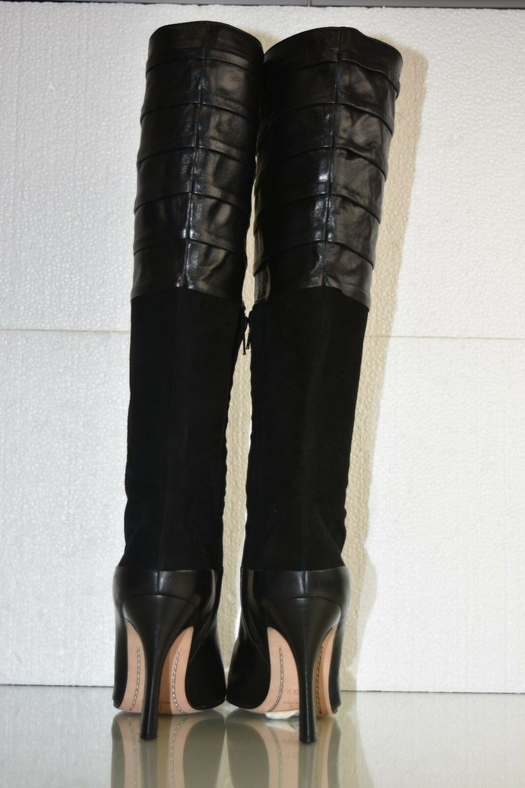 950 New RICKARD SHAH Knee High Boots Boots Boots Leather Suede Black Heels shoes 39.5 RARE d84d7b