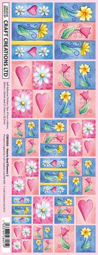 Creation stickers coeurs et fleurs pour Cartes et Artisanat