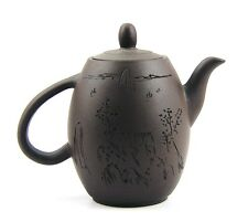 CHINESE YIXING ZISHA CLAY ARTISTIC DARK-BROWN STONEWARE TEAPOT AND COVER NEW #37