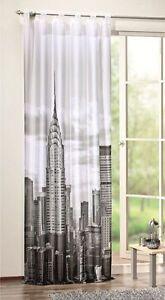 digital bedruckter schlaufenschal new york schal vorhang gardine mit bxh 120x245 ebay. Black Bedroom Furniture Sets. Home Design Ideas
