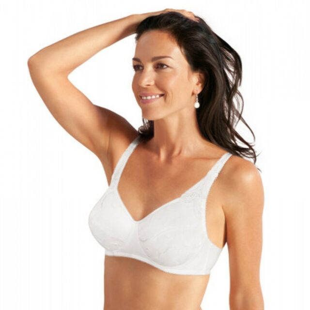 Playtex P001Q Embroidered Underwired Cotton Non Padded Bra in White