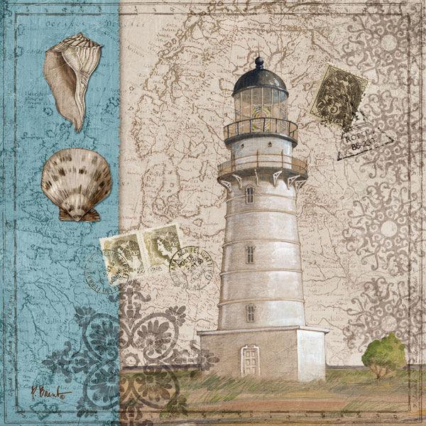 Paul Brent  Harbor Point III Keilrahmen-Bild Leinwand Leuchtturm maritim Muschel