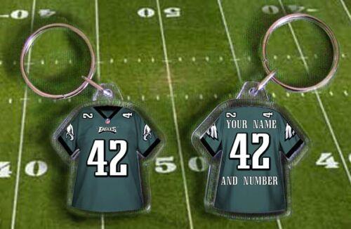 Fully personalised name /& number NFL PHILADELPHIA EAGLES shirt jersey KEYRING
