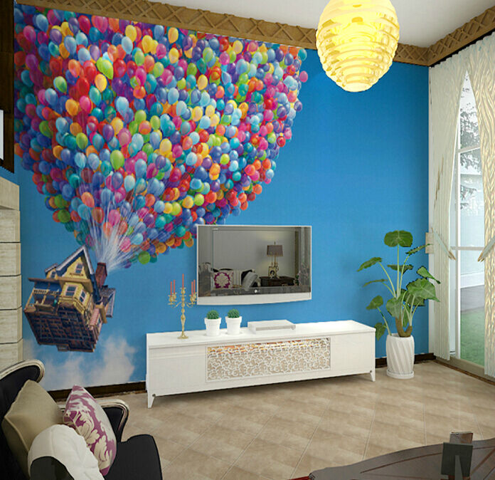 Huge 3D Flying House Around Wall Paper Wall Print Decal Wall Deco Indoor Wall