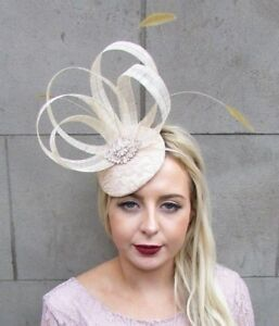 Image Is Loading Beige Cream Gold Sinamay Feather Fascinator Pillbox Hat