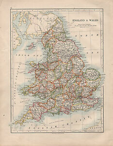 1914 Map England Wales York Devon Kent Sussex Chester Derby