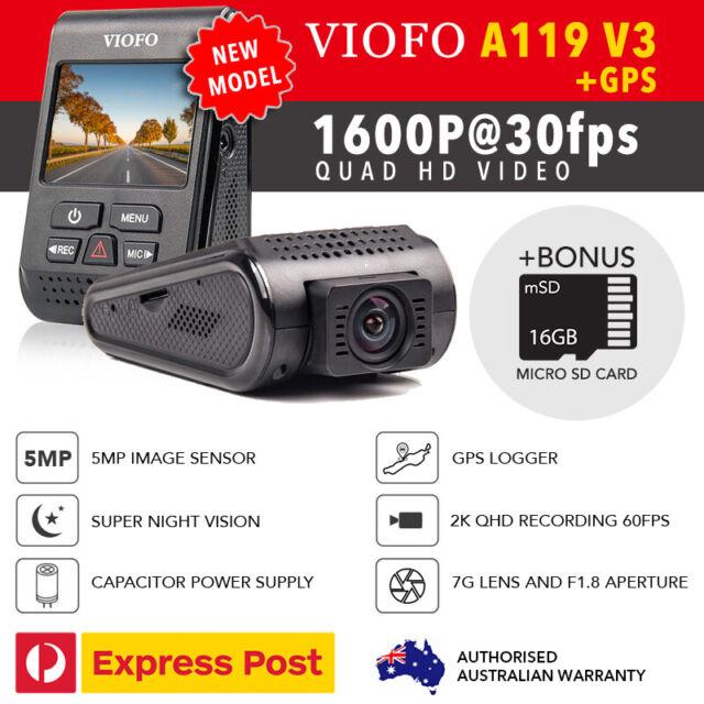 Viofo A119 V3 QuadHD 2560*1600P@30FPS GPS & Bonus MicroSD 16GB, New 2019 Model