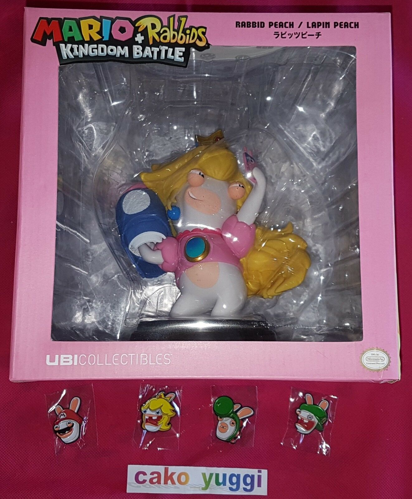 FIGURINE PEACH +RABBITS KINGDOM BATTLE  SWITCH +  4 PIN'S LAPIN CRETIN NO GAME