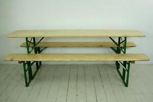 Image Is Loading VINTAGE INDUSTRIAL GERMAN BEER TABLE BENCH SET GARDEN
