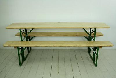VINTAGE INDUSTRIAL GERMAN BEER TABLE BENCH SET GARDEN FURNITURE BLONDE  FINISH | EBay