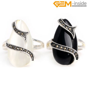 Retro Gemstone Rivet Tibetan Silver Drip Stone Healing Rings Jewelry Gifts NF